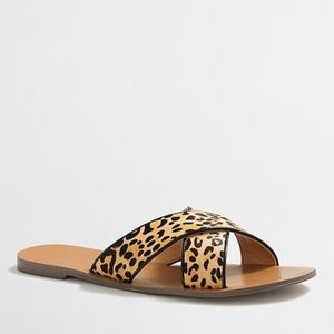 J. Crew Leopard calf hair seaside Sandal Size 7